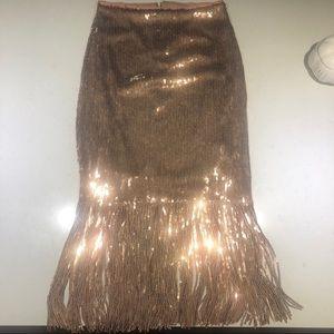 Lulus Rose Gold Fringe Pencil Skirt